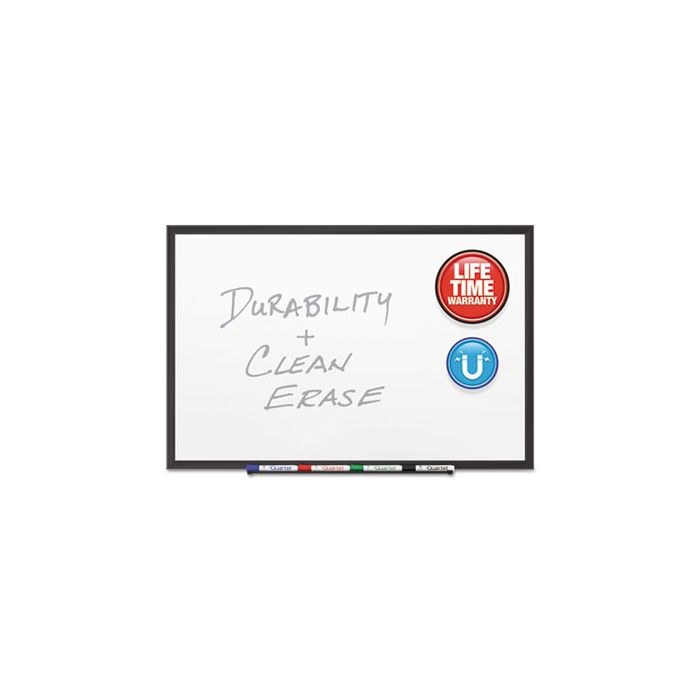 Quartet® Classic Porcelain Magnetic Whiteboard, 96 x 48, Black Aluminum Frame