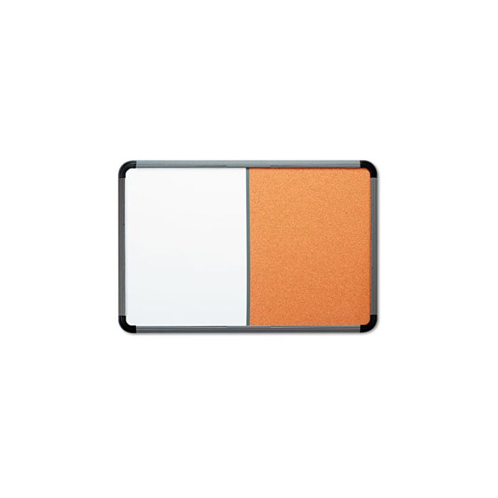 Iceberg Ingenuity Combination Dry Erase/Cork Board, Resin Frame, 48 x 36, Charcoal Frame