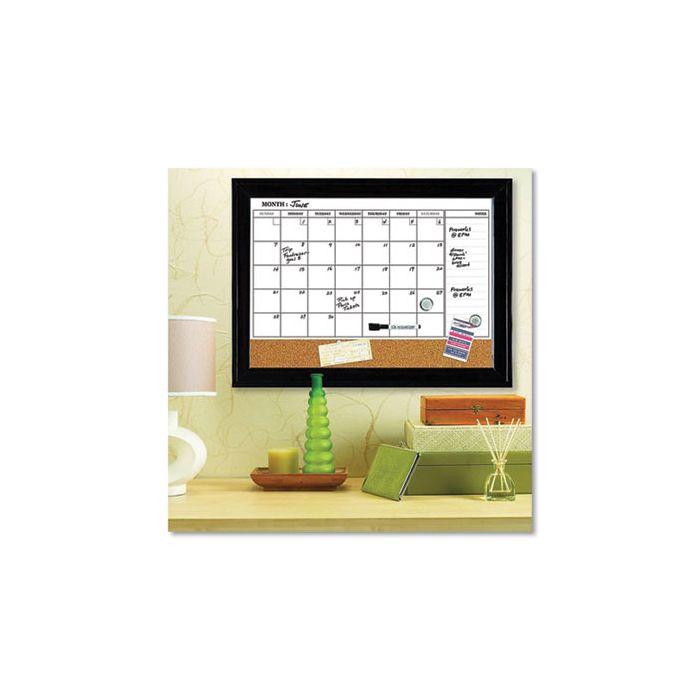 Quartet® Magnetic Combination Dry Erase Calendar/Cork Board, 23 x 17, Espresso Steel Frame