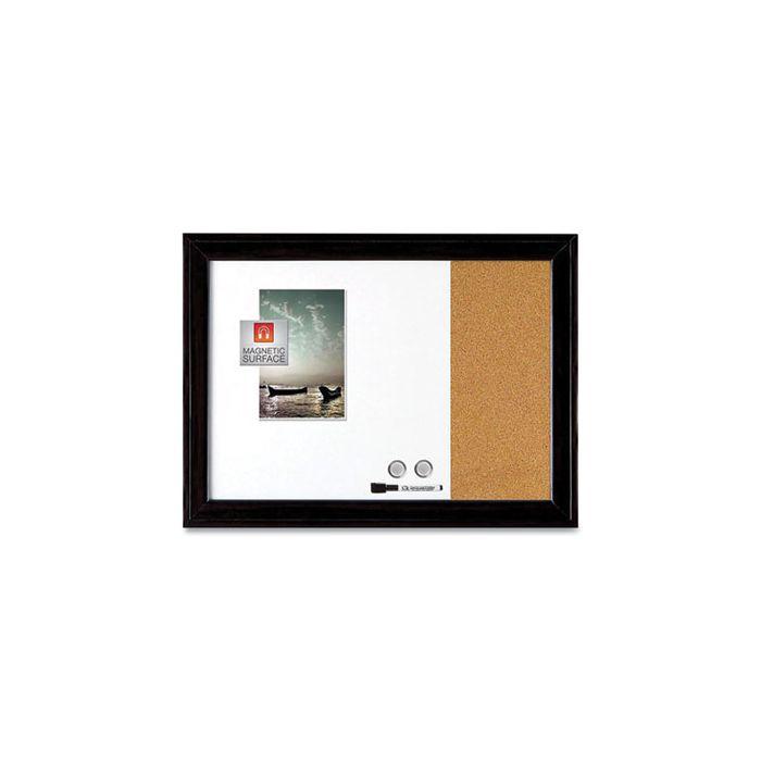 Quartet® Combination Magnetic Dry Erase/Cork Board, 23 x 17, Black Plastic Frame