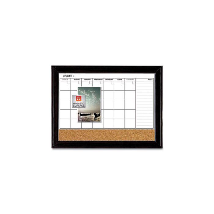 Quartet® Magnetic Combination Dry Erase Calendar/Cork Board, 35 x 23, Black Wood Frame