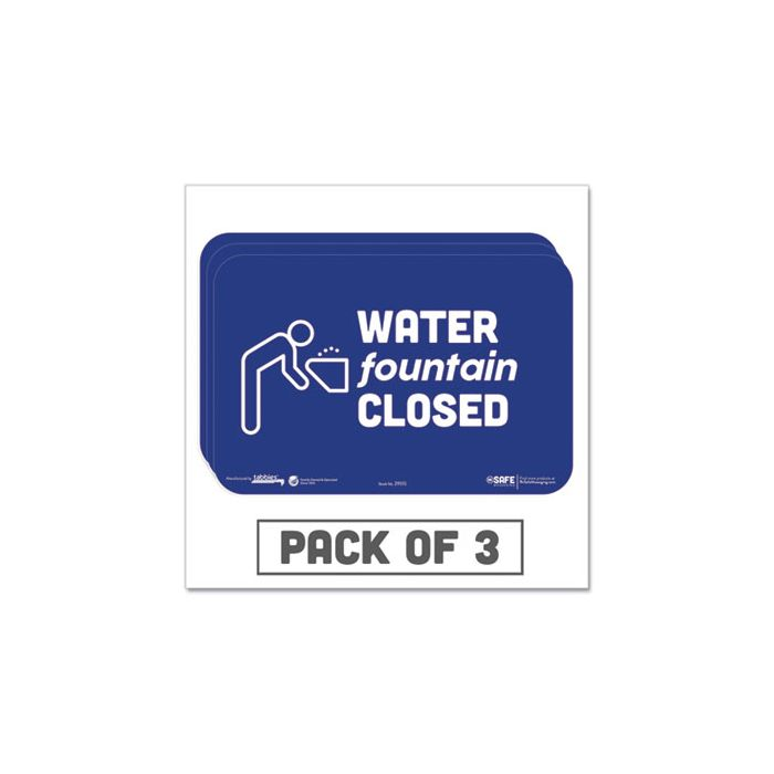 """Tabbies® BeSafe Messaging Education Wall Signs, 9 x 6,  """"Water Fountain Closed"""", 3/Pack"""