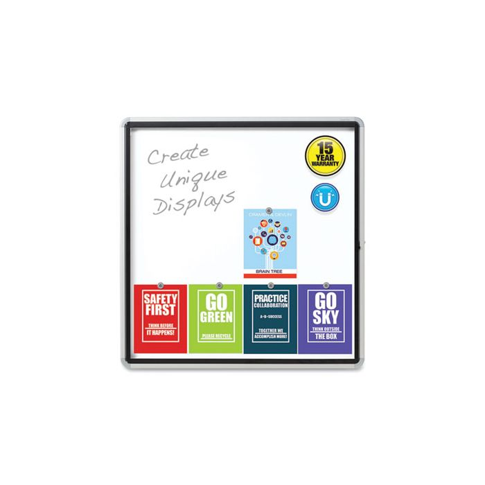 Quartet® Enclosed Outdoor Magnetic Whiteboard, 38 x 39, White Surface, Silver Frame